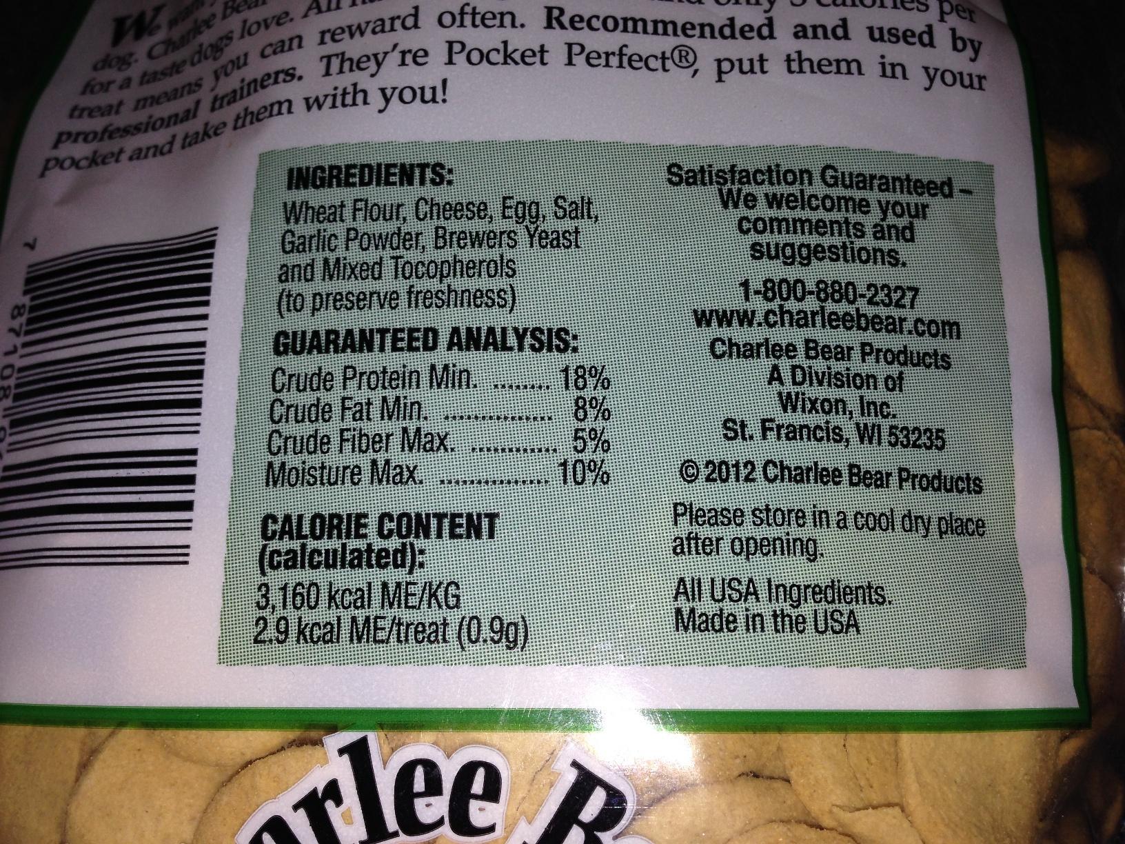 Dog Treat Calorie Chart